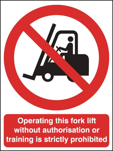 UK fork lift signs - 175 x 125 mm operating this fork lift without