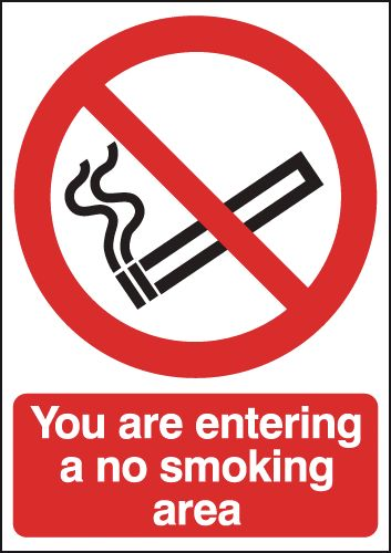 UK smoking signs - 150 x 125 mm you are entering a no smoking