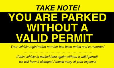 75 x 125 mm you are parked without a valid