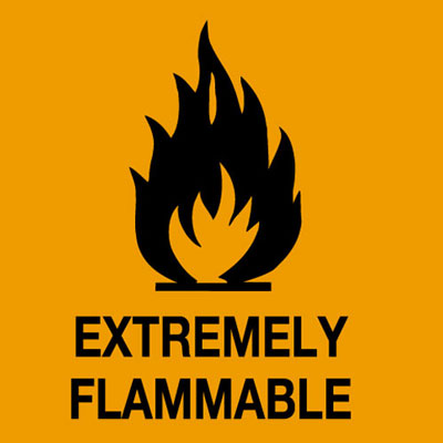 Hazard symbols rolls of 500 20 x 20 mm extremely flammable