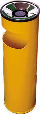 Cigarette ash trays - 600 x 250 mm yellow ash litter bin