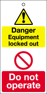 200 x 100 mm danger equipment locked out