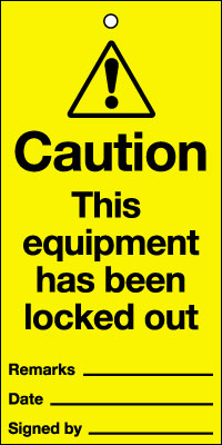 Uk lockout signs - 200 x 100 mm caution this equipment has been