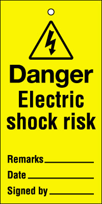200 x 100 mm danger electric shock risk