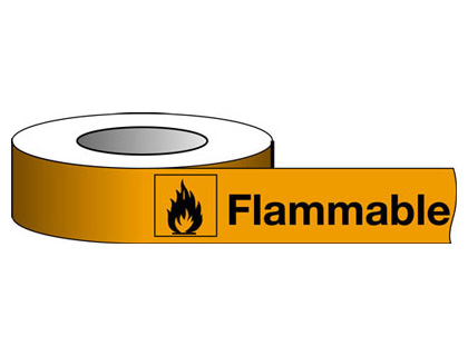 25 x 66 metre flammable hazard warning tape