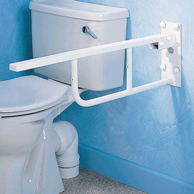 Toilet support arm with leg