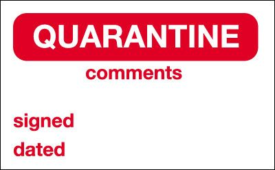 25 x 40 quarantine vinyl labels