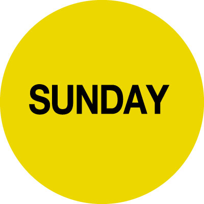 70 x 70mm black on dark yellow Sunday