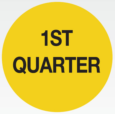70 x 70mm black on yellow 1st quarter