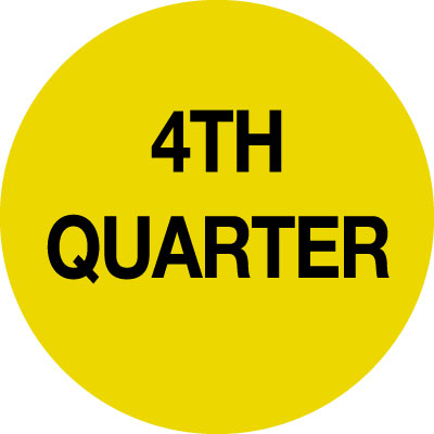 70 x 70mm black on yellow 4th quarter