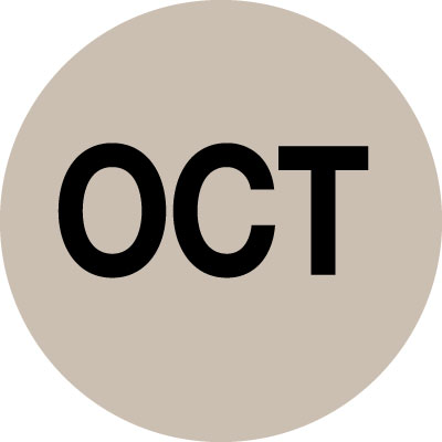 70 x 70mm black on beige vinyl October