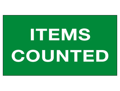 25 x 40 items counted vinyl labels