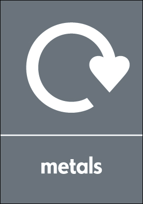 Recycling signs - 210 x 148 mm metals self adhesive label