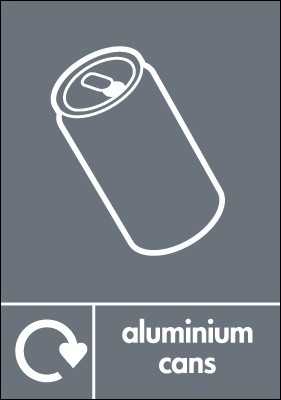 Recycling signs - 210 x 148 mm aluminium cans self adhesive label