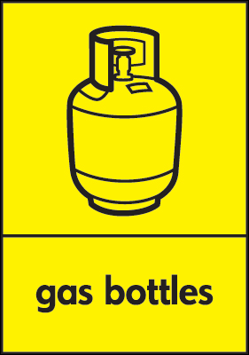 Recycling signs - 210 x 148 mm gas bottles self adhesive label