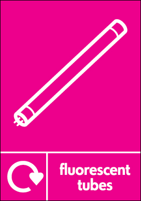 Recycling signs - 210 x 148 mm fluorescent tubes self adhesive label