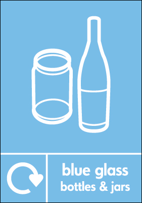 Recycling signs - 210 x 148 mm blue glass bottles and jars self adhesive label