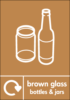 Recycling signs - 210 x 148 mm brown glass bottles and jars self adhesive label