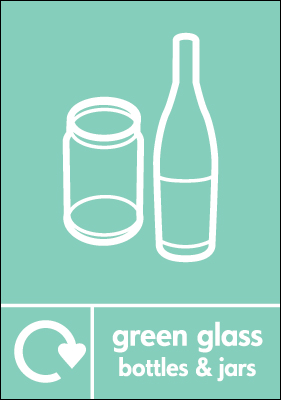 Recycling signs - 210 x 148 mm green glass bottles and jars