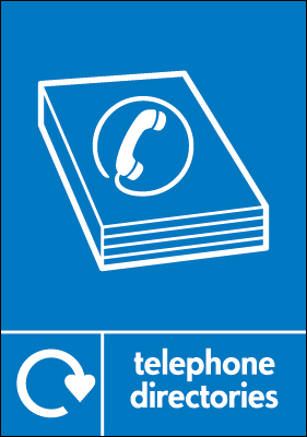 Recycling signs - 210 x 148 mm telephone directories self adhesive label