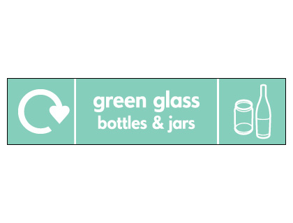 60 x 250 mm green glass bottles and jars label.