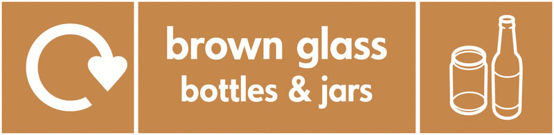 Recycling signs - 60 x 250 mm brown glass bottles and jars self adhesive label