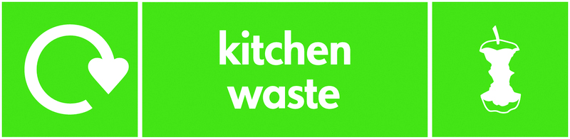 Recycling signs - 60 x 250 mm kitchen waste self adhesive label