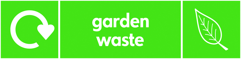 Recycling signs - 60 x 250 mm garden waste self adhesive label