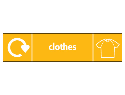Recycling signs - 60 x 250 mm clothes
