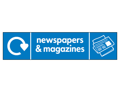 Recycling signs - 60 x 250 mm newspapers and magazines self adhesive label