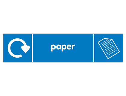 Recycling signs - 60 x 250 mm paper self adhesive label