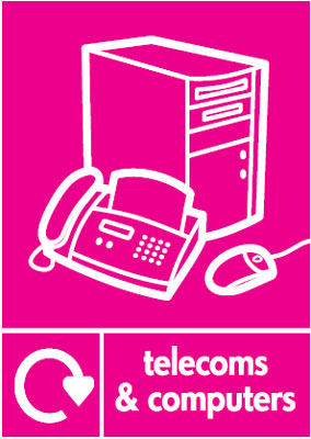 210 x 148 mm telecoms and computers label.