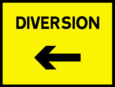 450 x 600 mm diversion left Sign