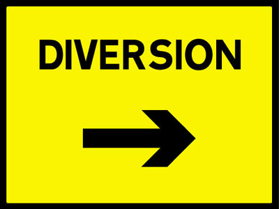 450 x 600 mm diversion right Sign-ob