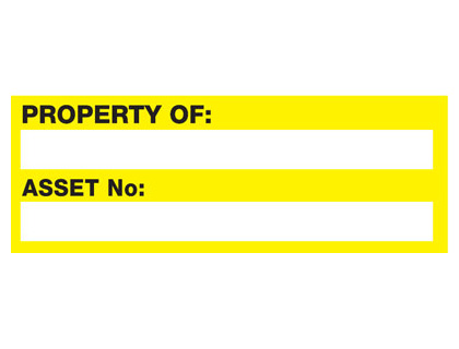 18 x 50mm property of asset no yellow black