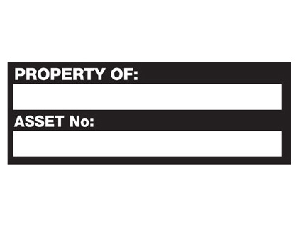 18 x 50mm property of asset no black white