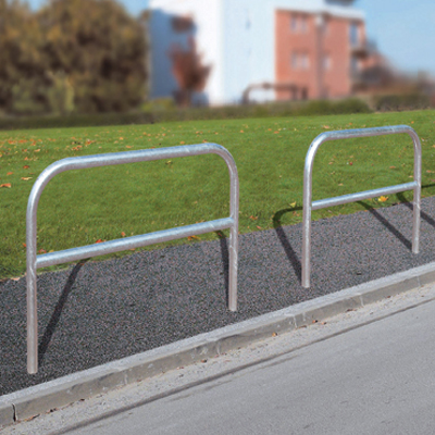 Galvanised hoop barrier with cross bar