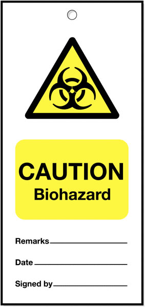 160 x 75 mm Pack of 5 Caution Biohazard