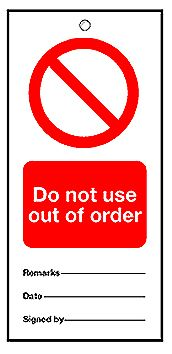 160 x 75 mm Pack of 5 Do Not Use Out of Order