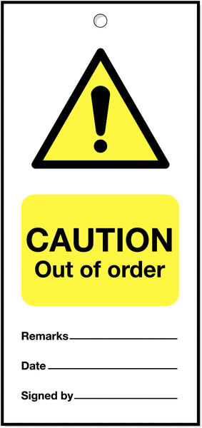 160 x 75 mm Pack of 5 Caution Out of Order