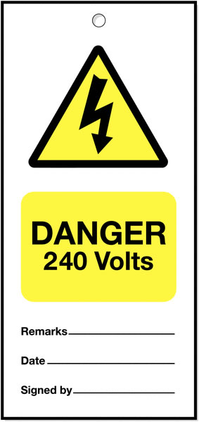 160 x 75 mm Pack of 5 Danger 240 Volts