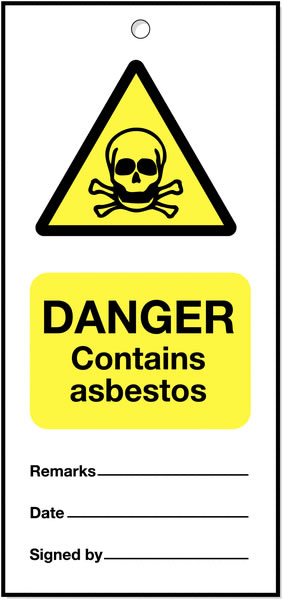 160 x 75 mm Pack of 5 Danger Contains Asbestos
