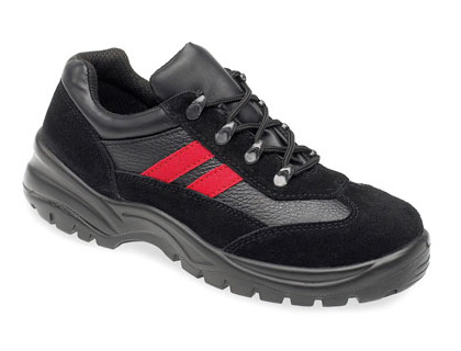 Ladies safety trainers black red 3