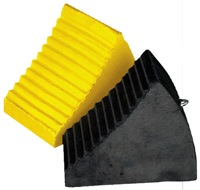 Moulded rubber wheel chocks