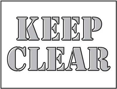 400 x 600 mm keep clear stencil
