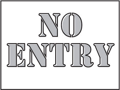 400 x 600 mm no entry stencil