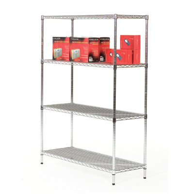 Chrome shelving with 4 shelves
