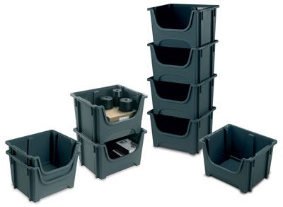 Stackable bin containers grey