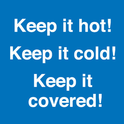 100 x 100 mm keep it hot, cold, covered s a