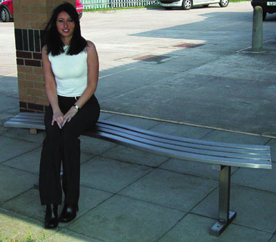 Stainless steel wave style bench seat